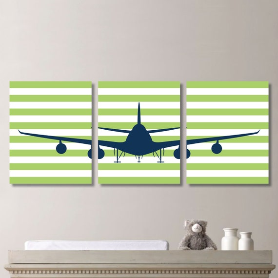 Airplane Aviation Striped Print Trio Home Decor Bath