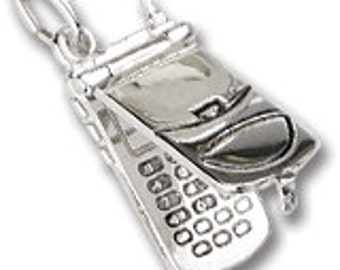 Sterling Silver Movable Flip Phone Charm by Rembrandt