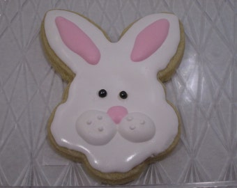 Cute Easter Bunny Decorated Sugar Cookies (4 inch) -1 dozen