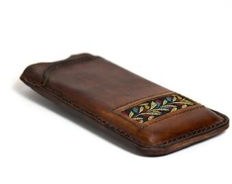Leather + Fabric iPhone 5S case - Cognac