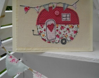 Textile Birthday Card, Handmade, Embroidered Card Pretty Caravan Picture