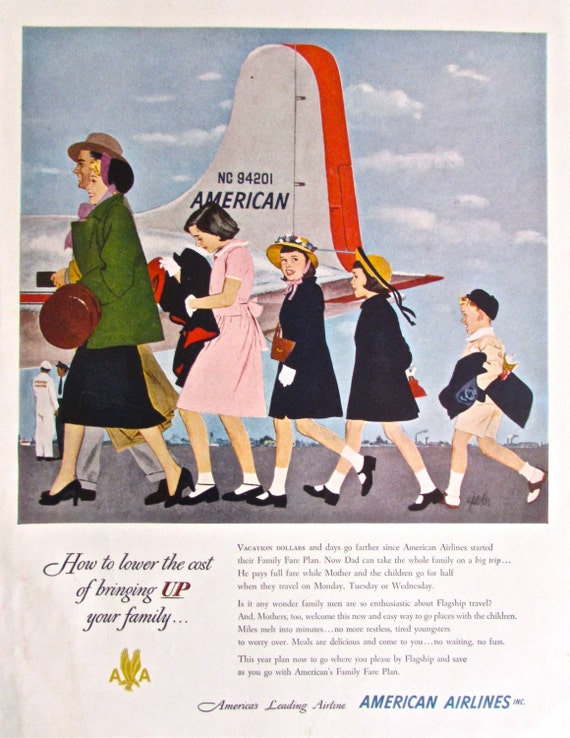 Items Similar To 1950s Vintage Ad American Airlines