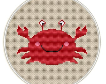 Counted cross stitch pattern, Instant Download, Free shipping, Cross-Stitch PDF, Cute crab