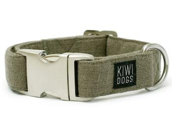Cardamom ORIENT buckle dog collar - soft linen natural dog collar with aluminum buckle