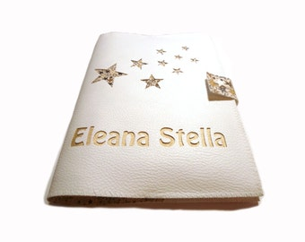 Protects health rain white leatherette book customizable stars