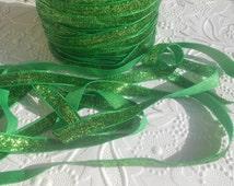 Green 3/8 Sparkle Glitter Ribbon ,No elastic, Wholesale glitter ribbon, Diy project ribbon