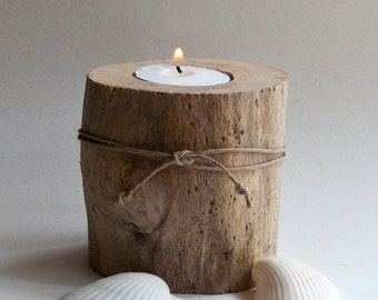 Natural driftwood candleholder for votive candle - beach house, cottage decor