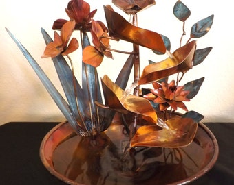 Iris Flowers, Water Lily and Vine Small Copper Table Fountain