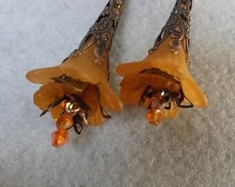 """Elegant Tangerine """"Fairy"""" Flower Earrings, Victorian Style"""