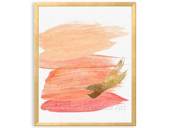 Coral gold wall art modern coral bedroom art abstract art for Peach and gold bedroom