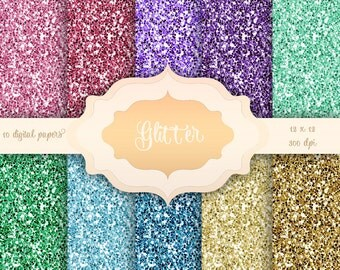 GLITTER Digital Paper Pack -  Glitter pattern backgrounds for scrapbooking, wedding invitations, baby/bridal shower - Instant Download