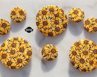 SUNFLOWERS  fabric badge / pinback buttons  -  several sizes