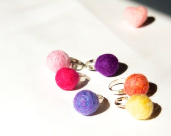 Needle-felted ring, felt ball with adjustable ring.