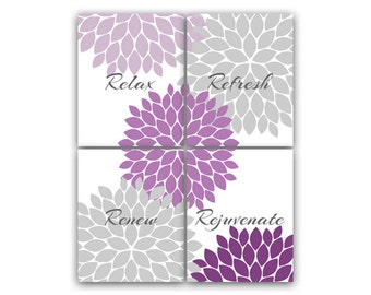 Purple Gray Bathroom Decor Modern Bathroom Art Bathroom Wall Art Relax Refresh