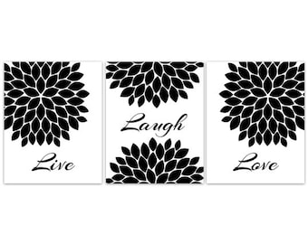 Live Laugh Love Wall Art Instant Download Black And White Bedroom Decor Quote Art