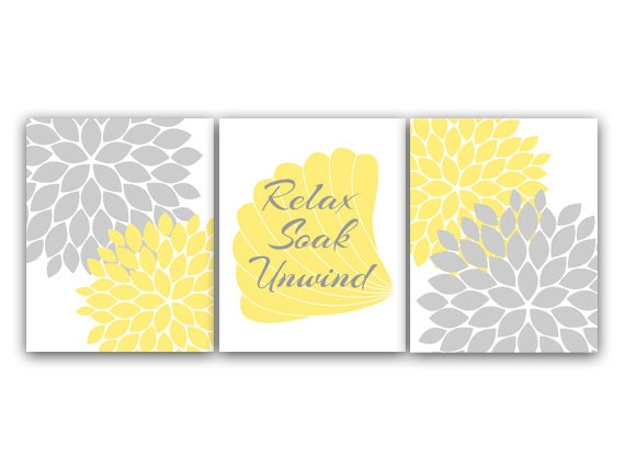 Yellow And Gray Bathroom Wall Decor : Bathroom wall art relax soak unwind yellow gray
