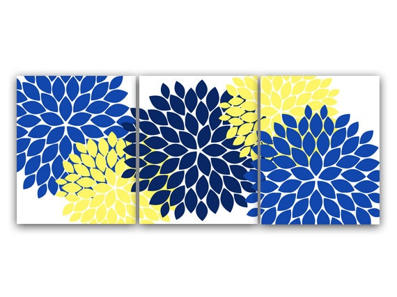 Yellow Flowers Wall Decor : Home decor wall art canvas and prints blue yellow flower