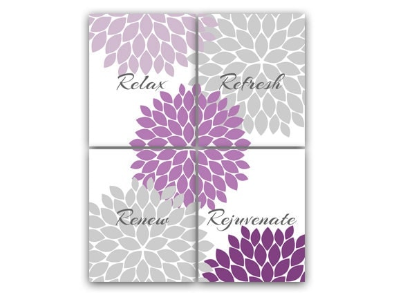 Purple gray bathroom decor modern bathroom art bathroom for Bathroom decor purple