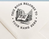 Personalized Mounted Rubber Stamp Custom Name Crafted This Book Belongs to, From the library of, created by - TBB3