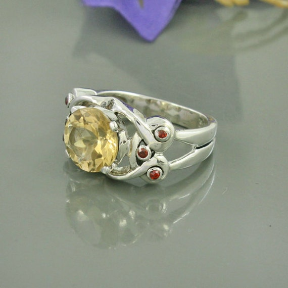 citrine garnet gemstone ring unique gift by silvergem2014