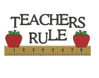 Teachers Rule School Machine Embroidery Filled Digitized Design Pattern -Instant Download- 4x4,5x7,6x10
