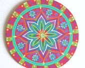 Original mandala art hand painted sacred geometry buddhist wall hanging and home decor. Red blue white. Diameter 7.88""