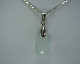 Natural Aqua Chalcedony Pendant with Chain
