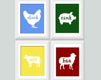 Farm Animal Nursery Art, Baby Animal Nursery Art Set of 4, Farm Nursery Decor, Kids Wall Art, Baby Boy Nursery Decor