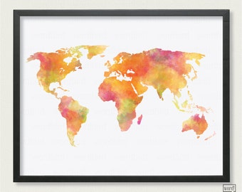 Watercolor World Map Poster, Large World Map, Watercolor Painting, world map art, wall art, Bedroom Decor