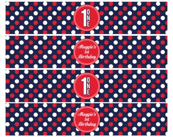 PATRIOTIC BIRTHDAY PARTY,  Water Bottle Wraps, 4th of July, Red White and Blue, Digital File