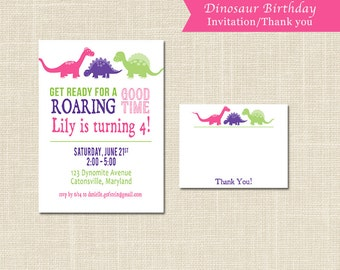 Girls Dinosaur party INVITATION and THANK YOU, pink, purple, green, blue, digital file or professional printing available