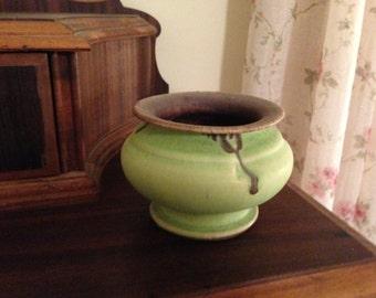 OOAK Green & Purple Pottery Vase