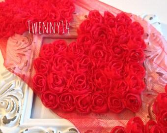 Red Shabby Chiffon Heart Trim, Chiffon Frayed heart, DIY Hair Accessories, Headband Supplies