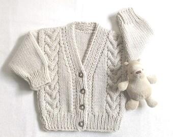 Infant Aran cardigan - 6 to 12 months - Baby clothing -  Baby Aran sweater - Baby Aran knit jumper