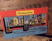 Vintage Antique Estate Long Beach California Linen Cloth Postcard Large Letters Travel Souvenir Memorabilia