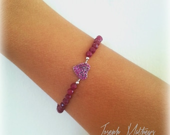 Sterling Silver and Maroon Bead and Pink CZ Heart  Elastic Stretch Bracelet