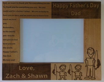 Father's Day Picture Frame, Fishing Daddy, Laser Engraved 5 x 7
