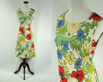 60's Cotton Poppy & Butterfly Dress