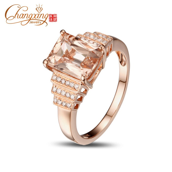 Vs Emerald Cut Peach Pink Morganite Amp Diamond Engagment