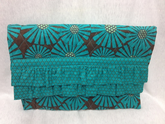 The Flower Power: Ruffled Clutch Purse (Brown and Teal Flower Pattern)