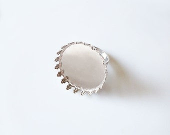 5 Silver Tone Brass Adjustable Ring Base Blank Findings with 25mm Round Pad Cameo Setting