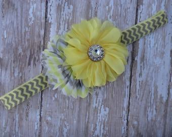 Blossom headband, yellow flower, yellow chevron headband, chevron headband