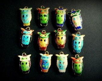 Owl Charm, Cloisonne Owl, Vintage Cloisonne Owl Charm Assorted Colors