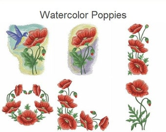 Watercolor Poppies Flower Floral Heirloom Quilt Machine Embroidery Designs Pack Instant Download 4x4 5x5 6x6 hoop 11 designs APE1878