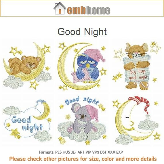 Good night baby animals machine embroidery designs pack