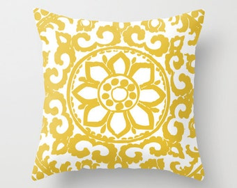 Art Deco Flower Pillow  // Mustard Yellow Pillow // Modern Home Decor // By Aldari Home