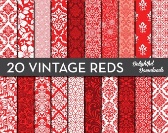 "Red Floral Digital Paper ""20 VINTAGE REDS"" with 20 red floral damask digital papers for scrapbooking, cards, prints"