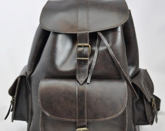 Leather Backpack -Leather three pocket Rucksack-Handmade Dark Brown-Leather Satchel-EXTRA LARGE