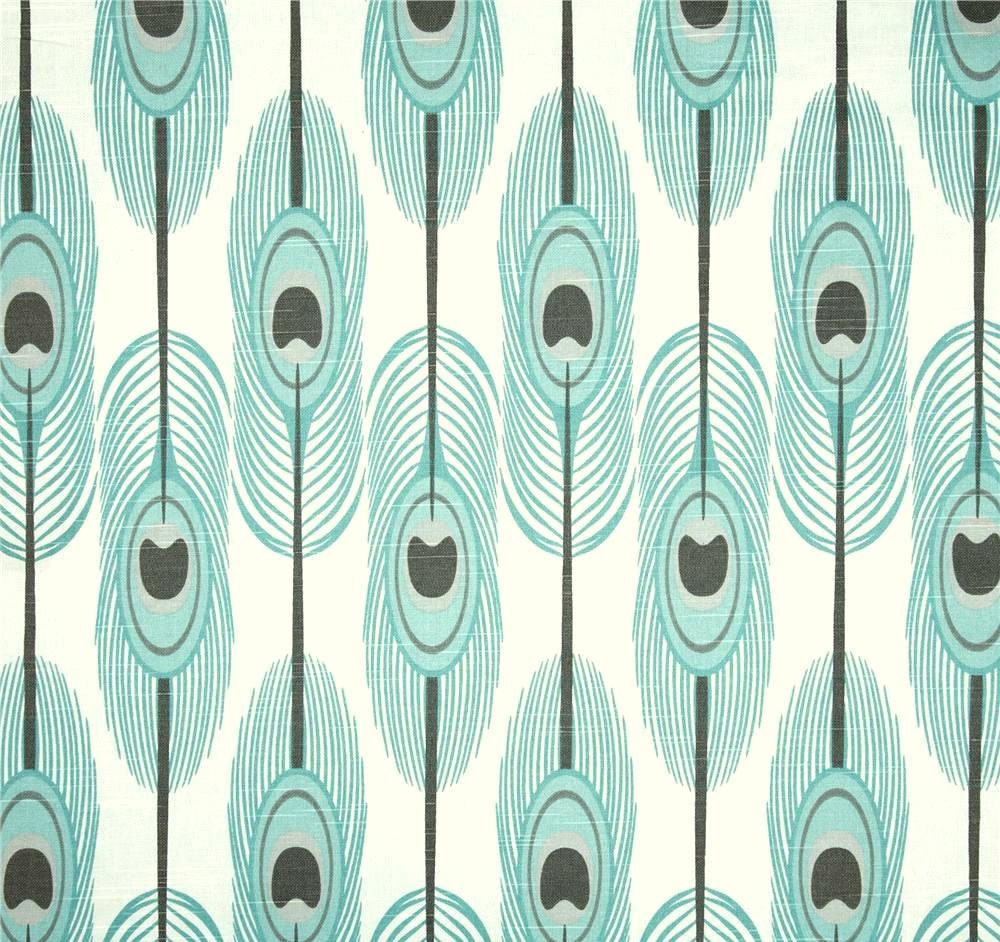 Aqua Blue Feather Fabric by the Yard Cotton Boho Home Decor