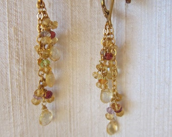 Citrine, Amethyst, Peridot 14K Gold Filled Handmade Earrings